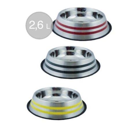 comedero-acero-antideslizante-2-rayas-colores-2600-ml